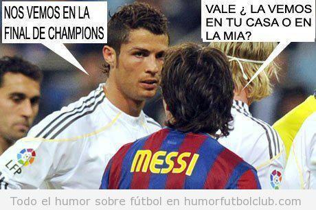 Cristiano Ronaldo y Messi  se ven en la final de la Champions, pero en su casa