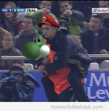 Mourinho es Mario bros subido a caballito en Yoshi