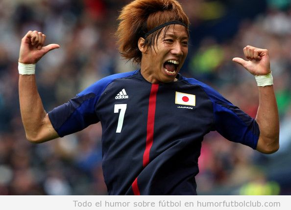 El futbolista de la selección de Japón, Otsu, celebra el gol a España en los Juegos Olímpicos Londres