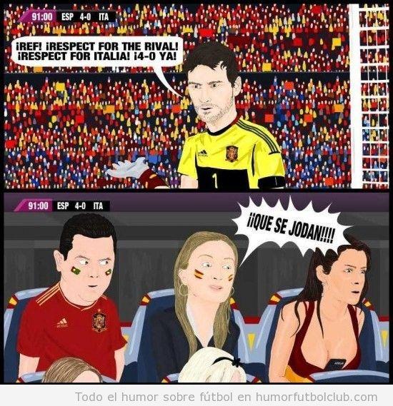 Viñeta graciosa en la que Andrea Fabra, del PP, en la final de la Euro 2012 dice que se jodan a los Italianos