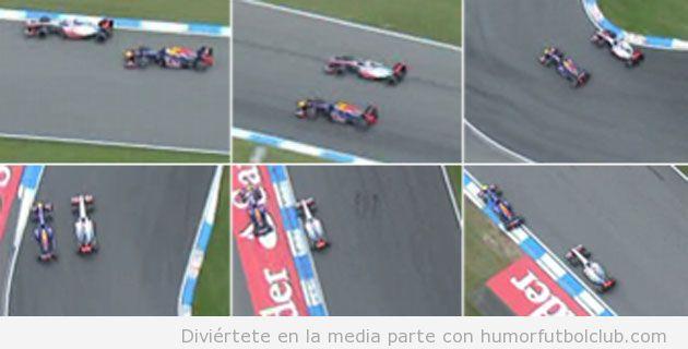 Vettel adelantando a Button por fuera en el GP HOCKENHEIM