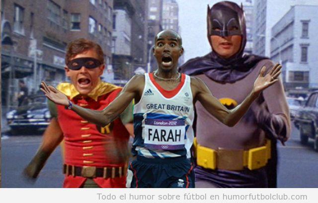 Meme del atleta Al Farah corriendo delante de Batman y Robin