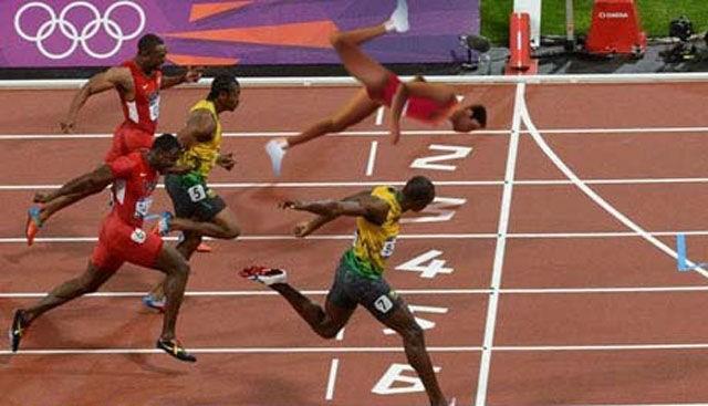 Foto divertida de un meme en horizontal para ganar a Bolt en una carrera metiendo la cabeza