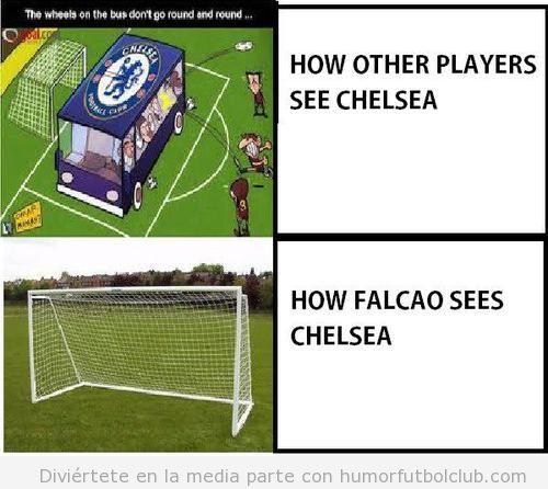 Viñeta graciosa Falcao Atletico Madrid Chelsea Suepercopa Europa 2012