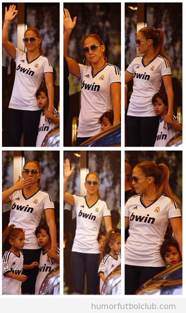 Jennifer López y sus hijos con la camiseta del Real Madrid