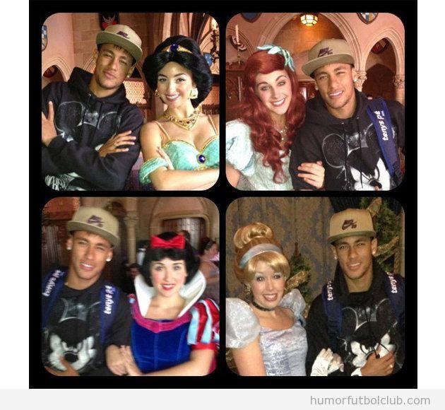 Neymar se hace fotos con Cenicienta, Blancanieves, Bella y Yasmin en Disneyland