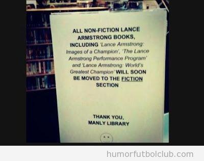 Cartel de una biblioteca, los libros de Lance Amstrong pasan a ser ficción