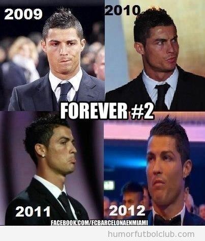 Fotos de las caras que pone Cristiano Ronaldo en la entrega del Balón de Oro durante cuatro años