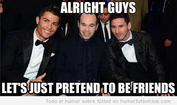 Cristiano Ronaldo, Iniesta y Messi posan juntos y sonrientes en Gala Balón de Oro 2012