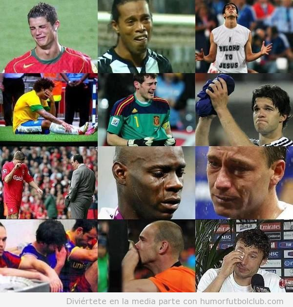 Imágenes de Cristiano Ronaldo, Ronaldinho, Casillas, Balotelli y otros llorando
