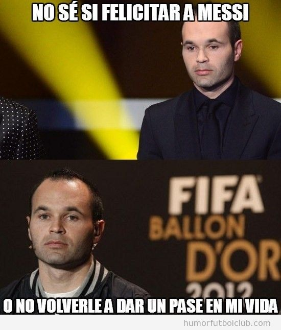 Meme divertido de Iniesta en el Baln de Oro 2012