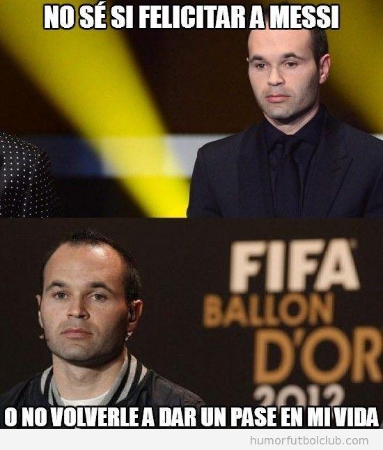 Meme divertido de Iniesta en el Balón de Oro 2012