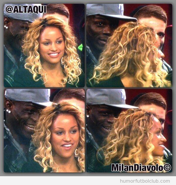 Balotelli viendo Milan Barça con novia y amigos