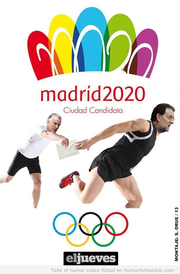 Cartel Madrid 2020, carrera relevo sobres del PP
