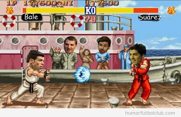 Bale y Luis Suarez en una simulación del Street Fighter, Liverpool vs Spir