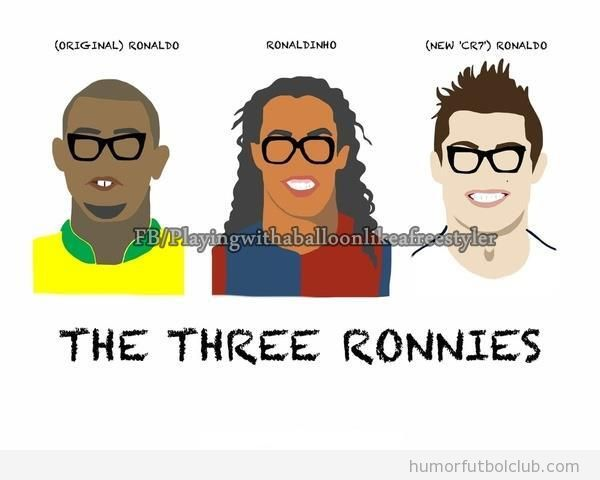 Dibujo gracioso de Ronaldo, Ronaldinho y Cristiano Ronaldo