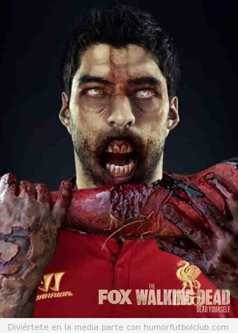 Dibujo gracioso de Luis Suárez zombie comiendo un brazo