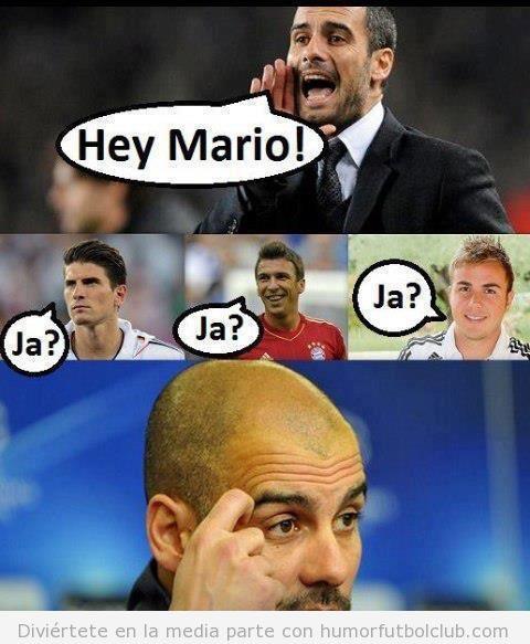 Viñeta graciosa de Gurdiola con los 3 Marios del Bayern Munich