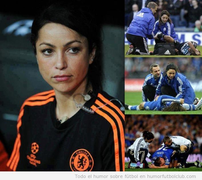 Imágenes de la guapa fisioterapeuta del Chlsea en la final de la Europa League