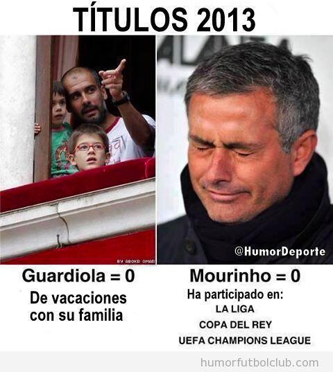 Meme gracioso, comparación de Guardiola y Mourinho en 2013