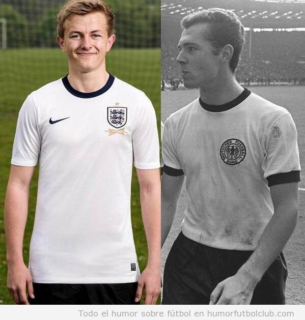 La nueva camiseta de Inglaterra se parece a la de Alemania en 1966