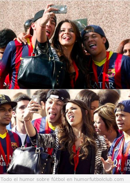 Autofoto de la novia de Neymar  sacando la lengua
