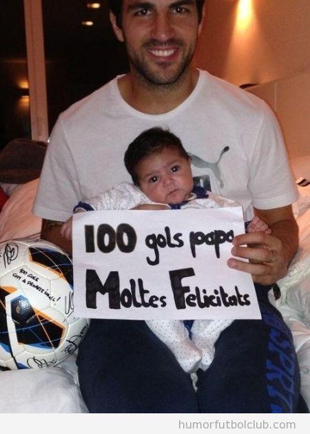 Felicitación del hijo pequeño de Cesc Fabregas por 100 goles