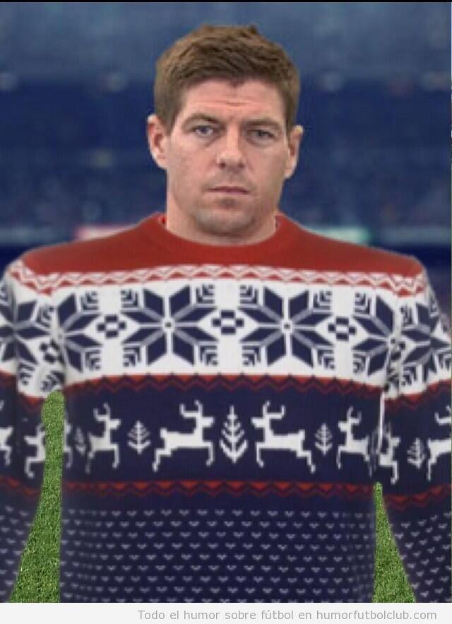 Fotos graciosas, jerseys de Navidad que se parecen a la camiseta Liverpool