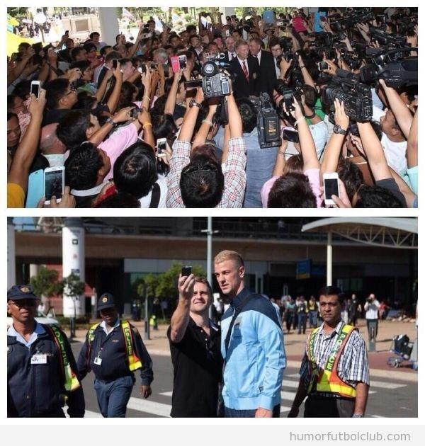 Imagen graciosa, diferencia entre el recibimiento del Manchester United en Bangkok y Manchester City en Sudáfrica