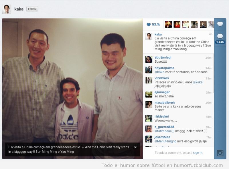 Foto graciosa y WTF de KAka con Sing Ming y Yao Ming