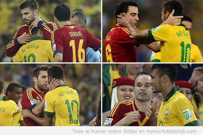 imagen de Neymar haciendo las paces con jugadores Barça  después España Brasil Copa Confederaciones