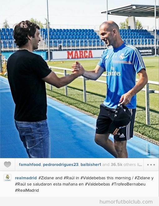 Reencuentro de Raúl González y Zidane en Valdebebas