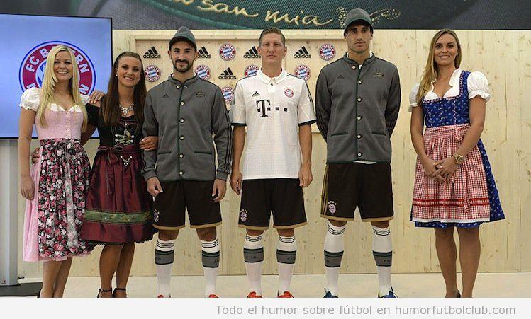 Segunda equipación Bayern Munich 2013-14 inspirada en Lederhosen