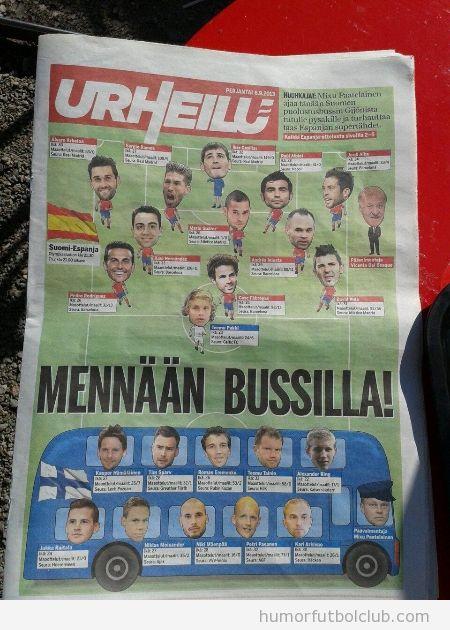 Infografía graciosa selección Finlandia en un autobús ante España