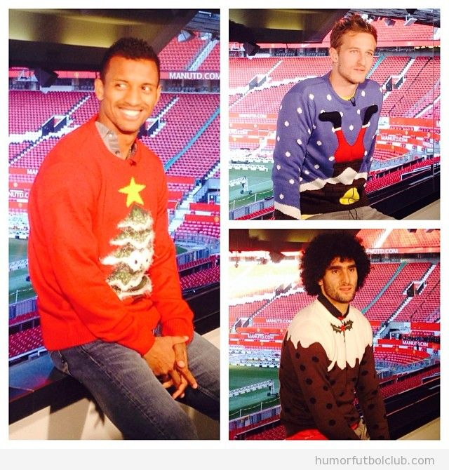 Anders, Lindergaard y Marouane Fellaini com jerseys Navidad feos en Old Trafford