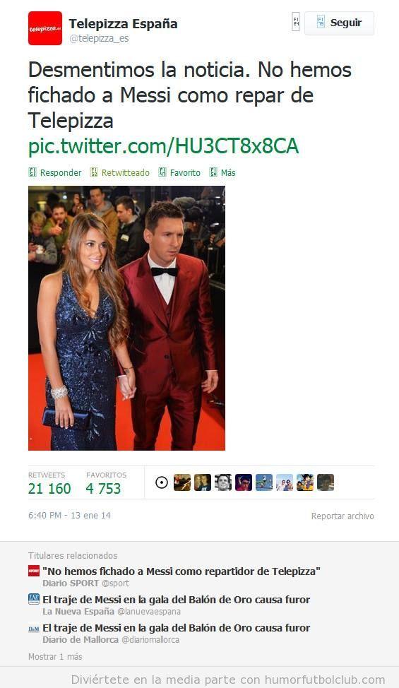 Tweet gracioso Telepizza sobre Messi, no es nuevo repartidor