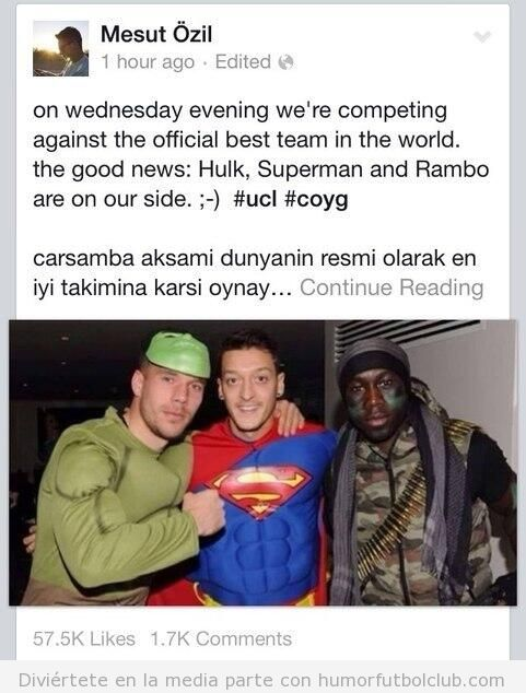Mensaje de Ozil en Facebook, Arsenal - Bayern Munich