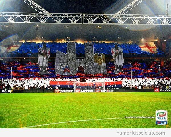 Tifo de la afición del Genoa vs derby Sampdoria