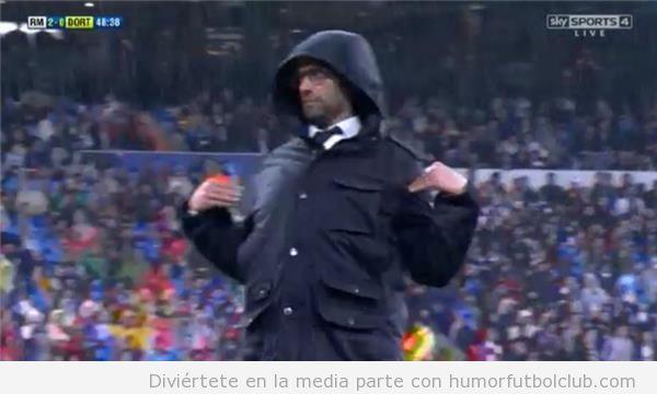 Fotos graciosas Jurgen Klopp en el Bernabeu, Real Madrid vs Borussia Dortmund