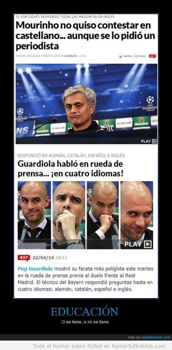 Meme diferencias ruedas prensa Mourinho vs Guardiola