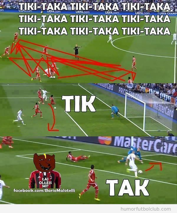 Meme gracioso tiki-taka Real Madrid - Bayern