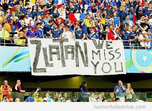 Foto graciosa, pancarta de los aficionados Francia para Zlatan