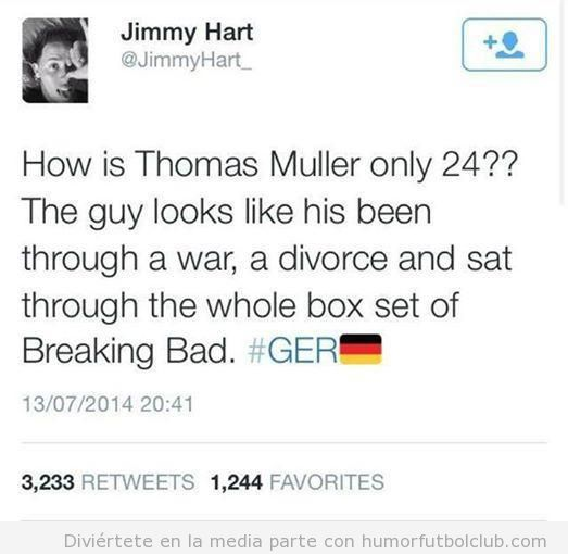 Tweet gracioso sobre Thomas Muller y su edad