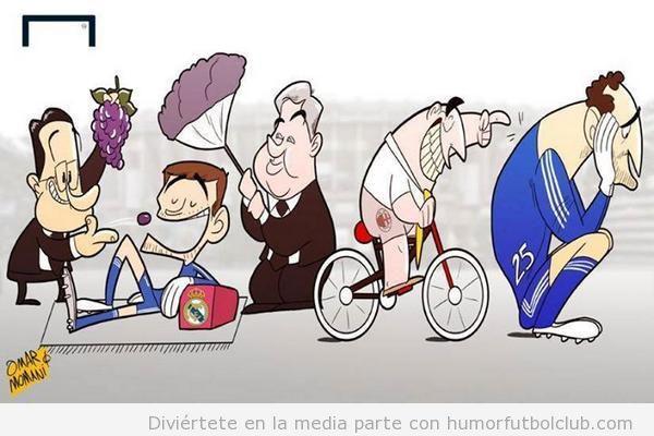 Viñeta graciosa Iker Casillas Real Madrid y Diego en Chelsea o Milan