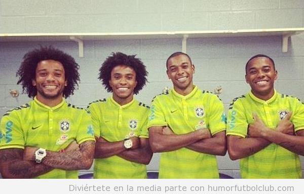 Parecido razonable Brasil de Marcelo, Willian, Fernandinho y Robinho