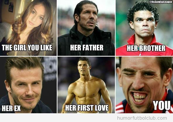 Meme gracioso fútbol sorbe la chica que te gusta