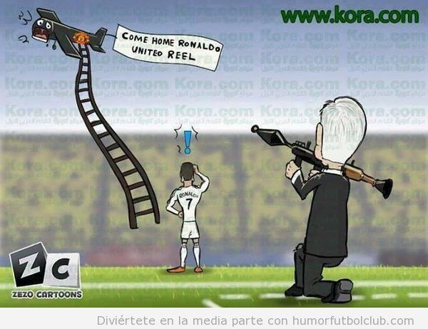 Viñeta graciosa Cristiano Ronaldo y la avioneta del Manchester United