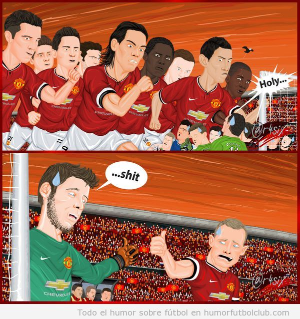 Viñeta humor sobre delantera y defensa Manchester United