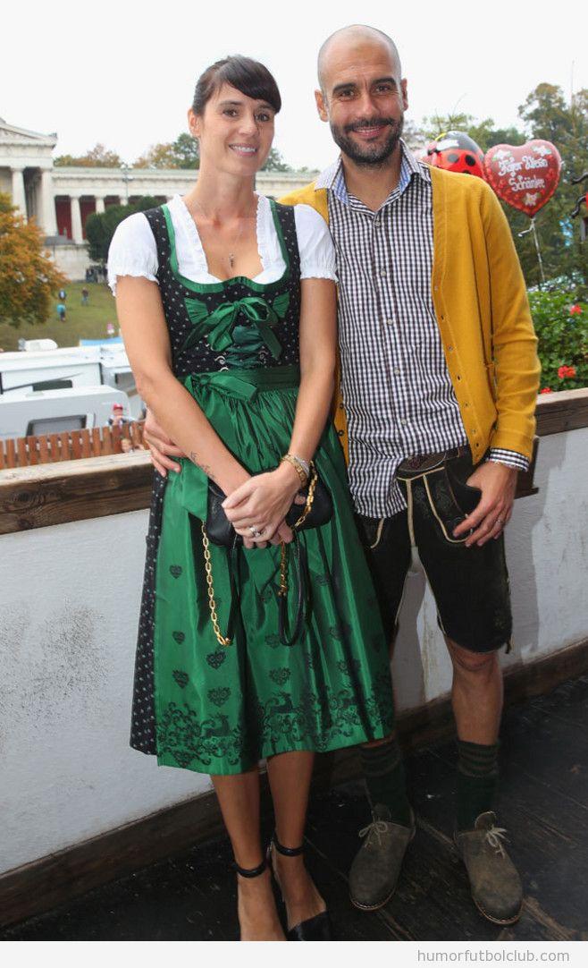 Pep Guardiola y su mujer en el en Oktoberfest