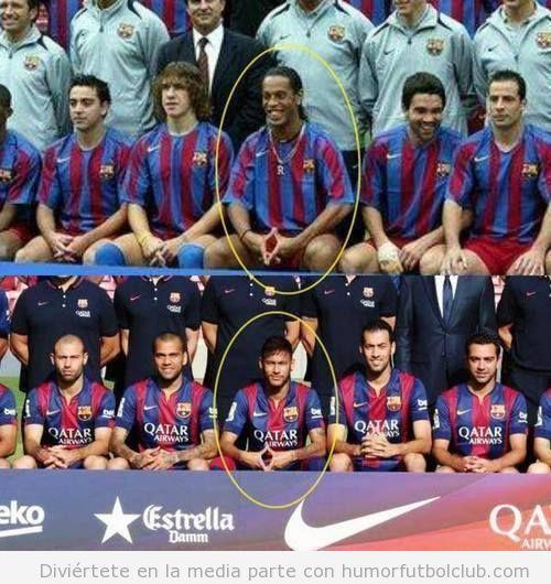 Foto de equipo Barça, Neymar imitando a Ronaldinho